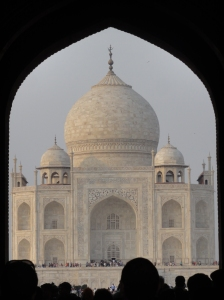 My first glimpse of the magical Taj Mahal
