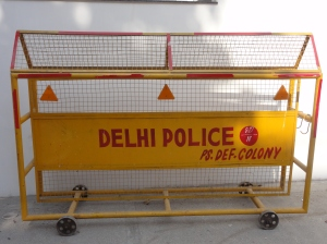 One of the ubiquitous police barriers in India