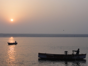 The serene Ganges River just after sunrise