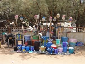 Roadside stall of mops