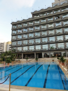 Expats can pop in for a dip in the pool at the Atlantic Palace Hotel
