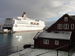 The huge ferry viewed from Old Torshavn