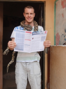Pythons reading Newsline