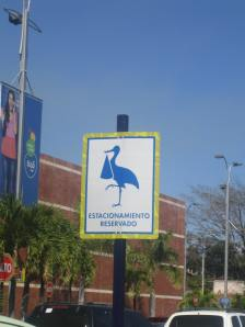 Parking is reserved for storks at the Cascadas Mall in Tegucigalpa
