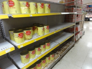 A typically depressing sight at a Cuban supermarket