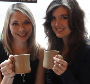 Shona and Eleanor enjoying their seasonal lattes
