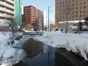 Frozen river in Sapporo