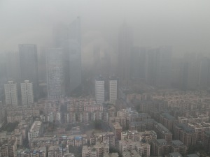 Guangzhou's downtown skyscrapers fight to be seen through the smog