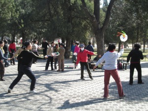 One of the many outdoor exercise classes in Beijing's Temple of Heaven Park