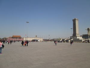 Unusually clear skies over Tiananmen Square