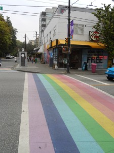 A rainbow zebra crossing in Vancouver