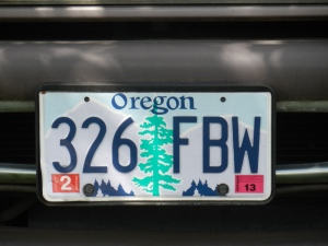 Oregon licence plate