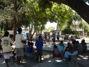 Weighlifting competition in Bairiki Square, Kiribati