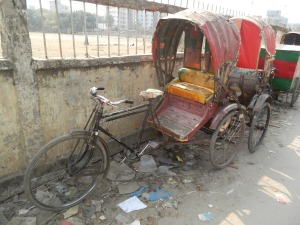 One of the many dilapidated rickshaws in Bangladesh's capital