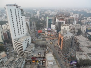 Looking down on the main intersection of Gulshan in Dhaka