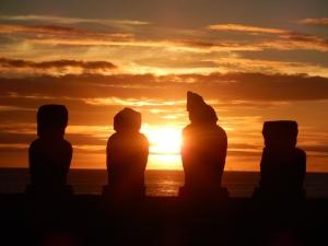 Moai statues in silhouette