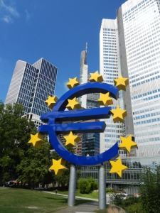 The recently revamped euro sign in Frankfurt
