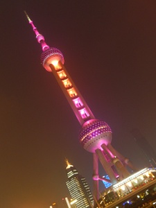The rocket-esque Oriental Pearl Tower in Shanghai